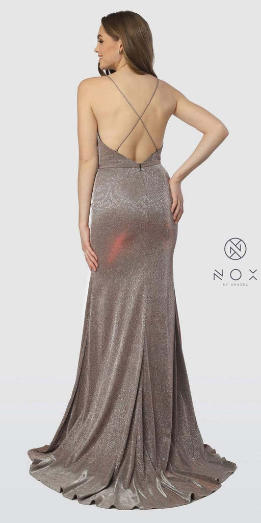 Metallic Red Long Prom Dress Criss-Cross Open Back