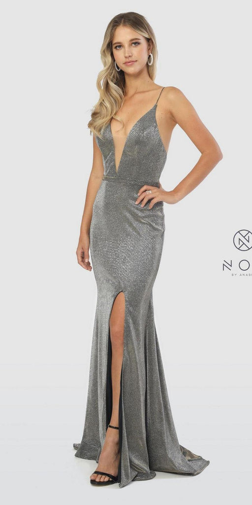 Silver/Gold Long Prom Dress Criss-Cross Open Back