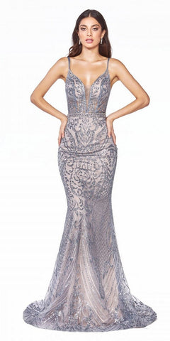 Lace-Up Back Mermaid Long Prom Dress Dark Gray