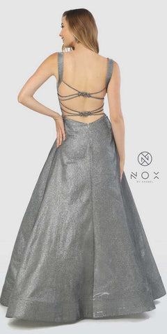 Metallic Prom Ball Gown with Embellished Open-Back Gray