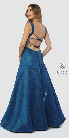 Metallic Prom Ball Gown with Embellished Open-Back Royal Blue