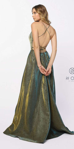 Green/Gold Metallic Long Prom Dress Criss-Cross Back