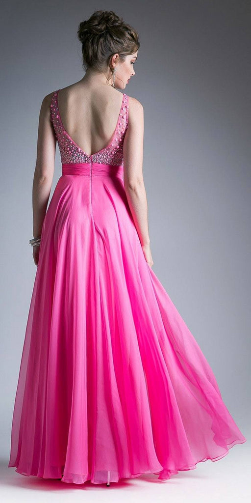 Embellished Bodice Coral Long Prom Dress Sleeveless