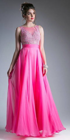Long A-Line Blush Formal Gown Mixed Chiffon Tulle Skirt Lace Bodice