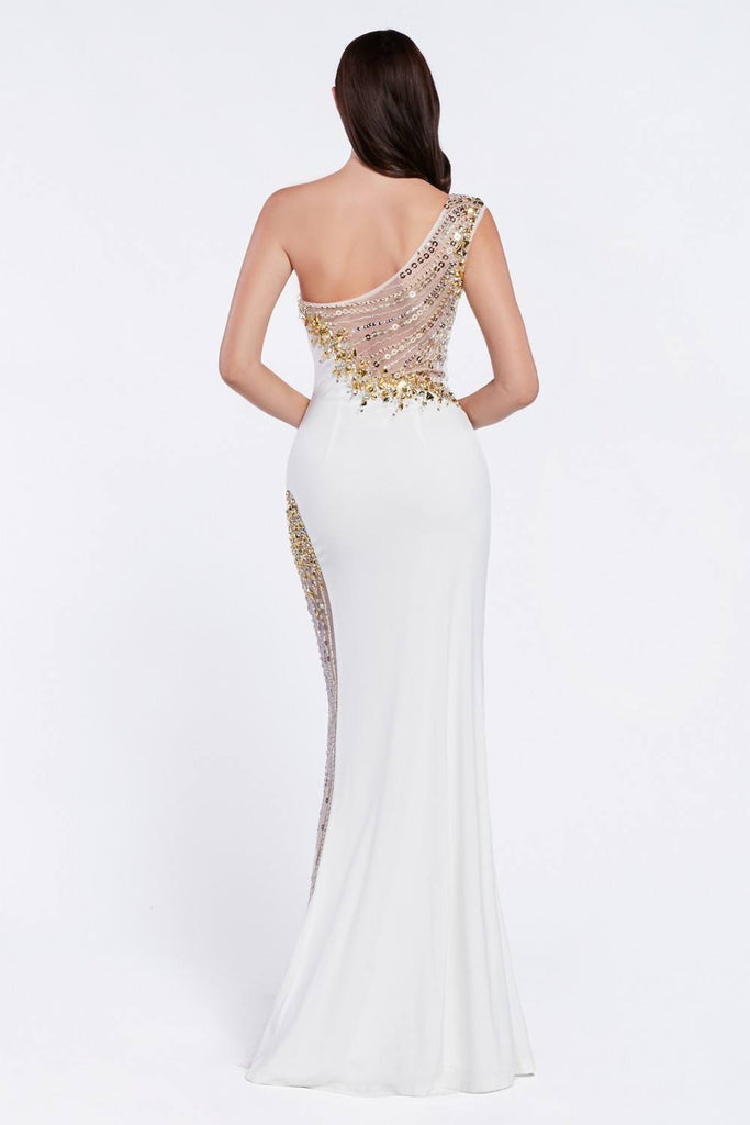 Cinderella Divine C2660 Cleopatra One Shoulder Sheath Cream/Gold Dress