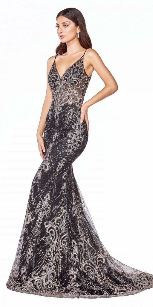 Cinderella Divine C27 Fitted Floor Length Black Dress Glitter Lace Print Illusion Bodice