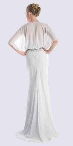 Cinderella Divine C280 Caplet Long Evening Dress Silver Chiffon Sweetheart Beads