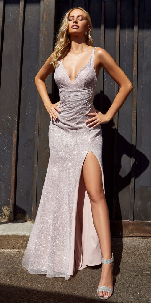 Cinderella Divine C29 Opal Mauve Long Fitted Glitter Gown Sparkly With Leg Slit