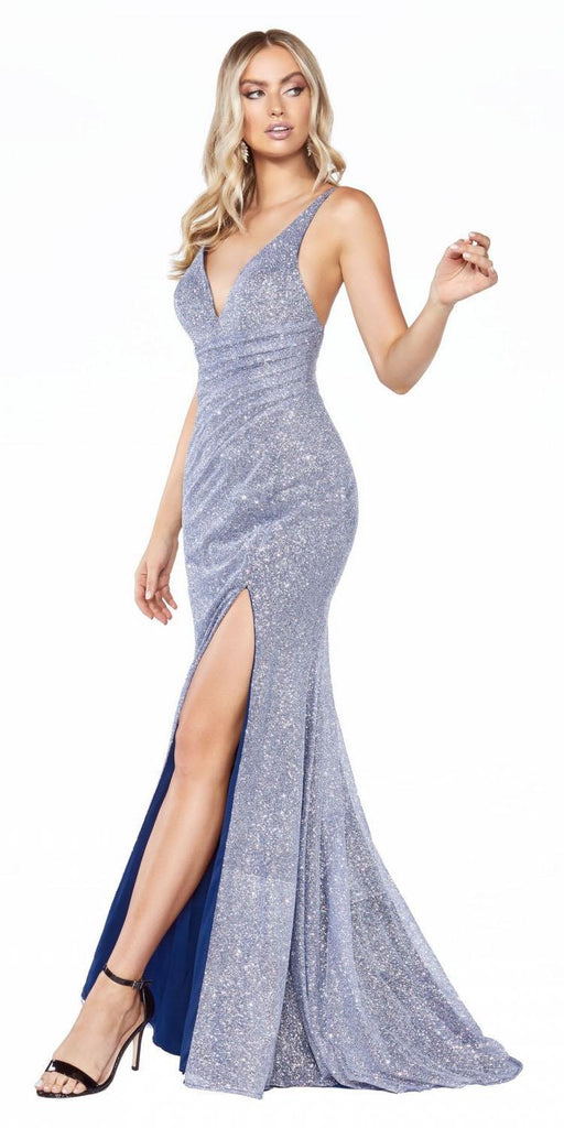 Cinderella Divine C29 Long Fitted Diamond Dust Glitz Glitter Gown Opal Blue Leg Slit