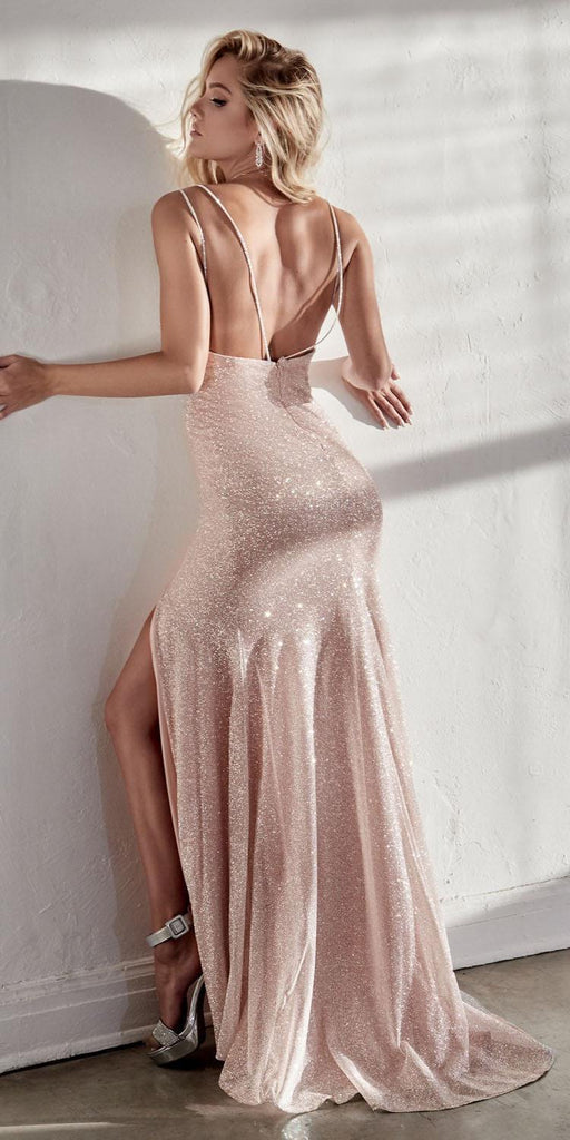 Cinderella Divine C29 Long Fitted Diamond Dust Glitz Glitter Gown Opal Blush Leg Slit