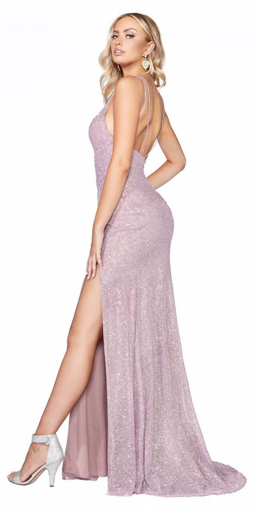 Cinderella Divine C29 Long Fitted Diamond Dust Glitz Glitter Gown Opal Mauve Leg Slit