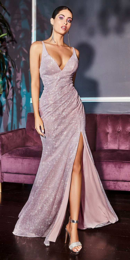 Cinderella Divine C29 Long Fitted Diamond Dust Glitz Glitter Gown Opal Mauve Leg Slit Gallery