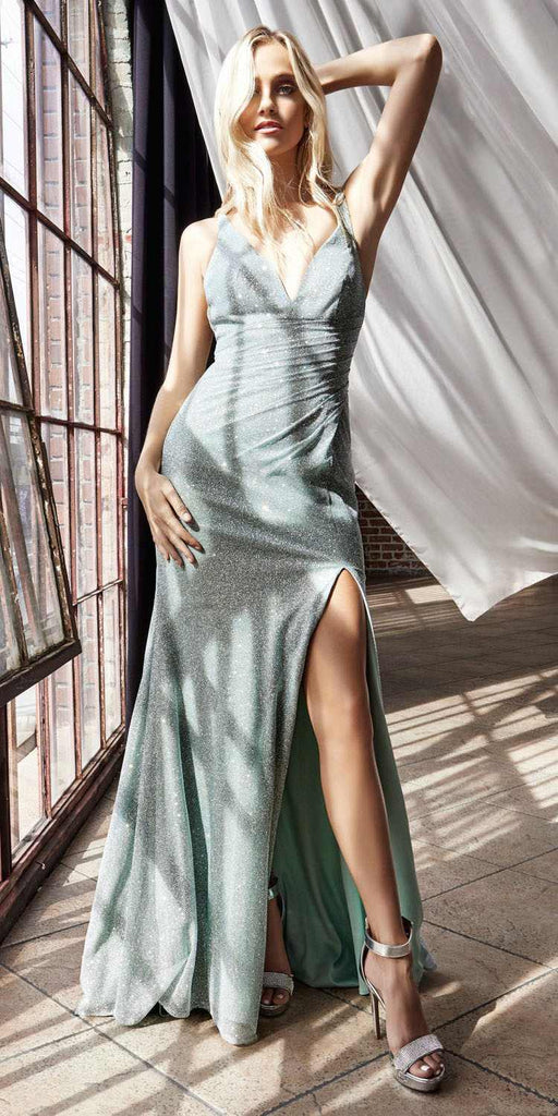 Cinderella Divine C29 Long Fitted Diamond Dust Glitz Glitter Gown Sea Mist Leg Slit