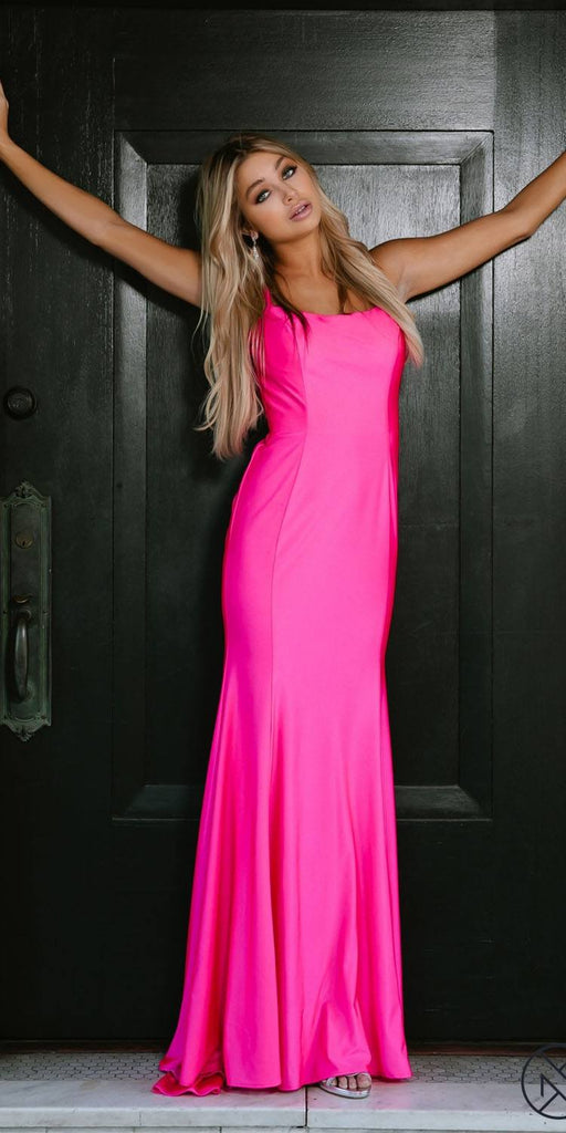 Fuchsia Mermaid Long Prom Dress with Strappy-Back