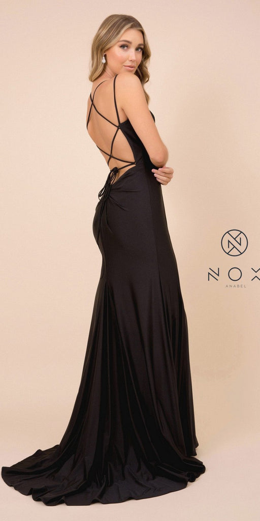 Black Mermaid Long Prom Dress with Strappy-Back