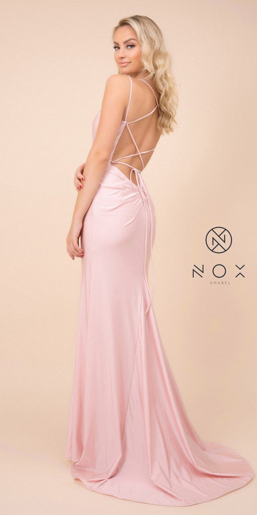 Blush Mermaid Long Prom Dress with Strappy-Back