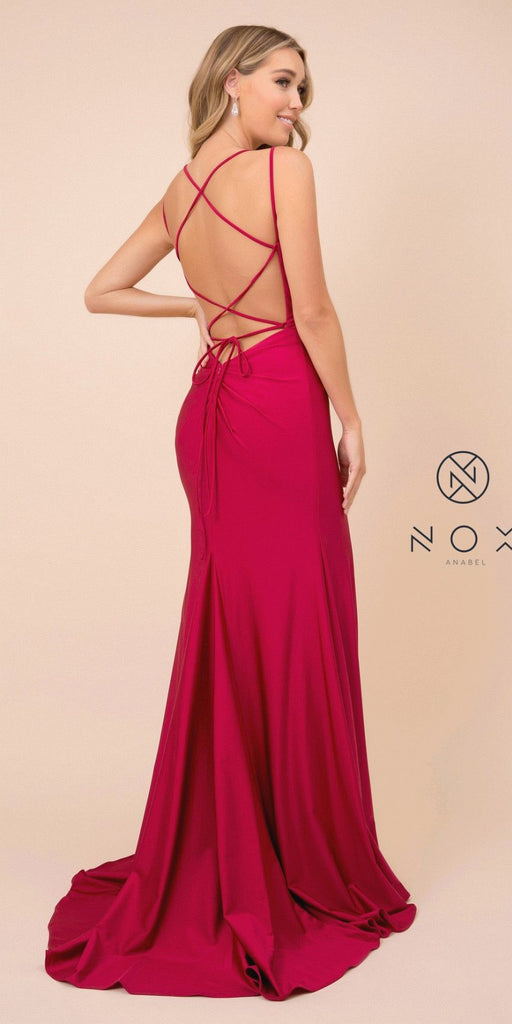 Burgundy Mermaid Long Prom Dress with Strappy-Back