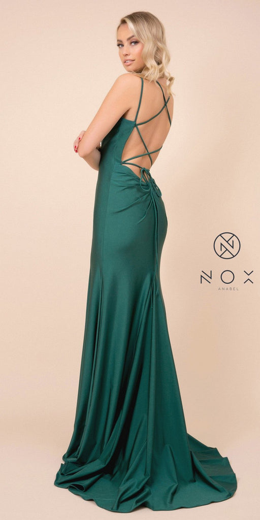Hunter Green Mermaid Long Prom Dress with Strappy-Back