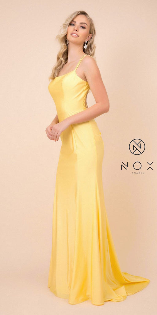 Yellow Mermaid Long Prom Dress with Strappy-Back