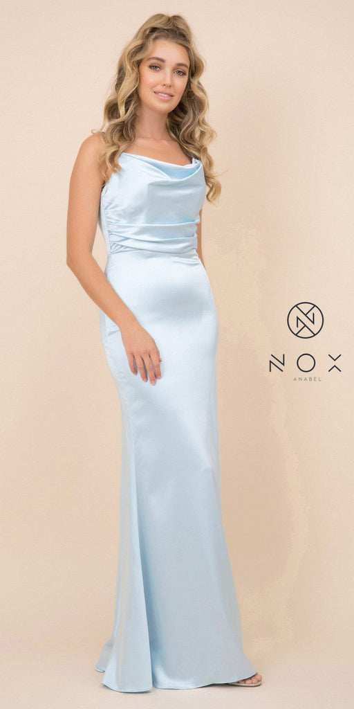 Light Blue Long Formal Dress with V-Shape Open-Back