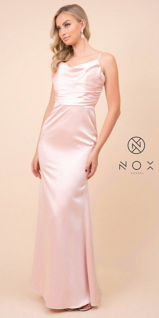 Blush Long Formal Dress with V-Shape Open-Back