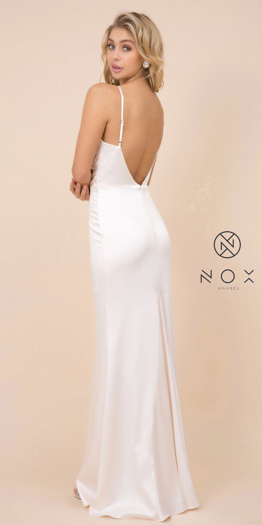 Cream Long Formal Dress with V-Shape Open-Back