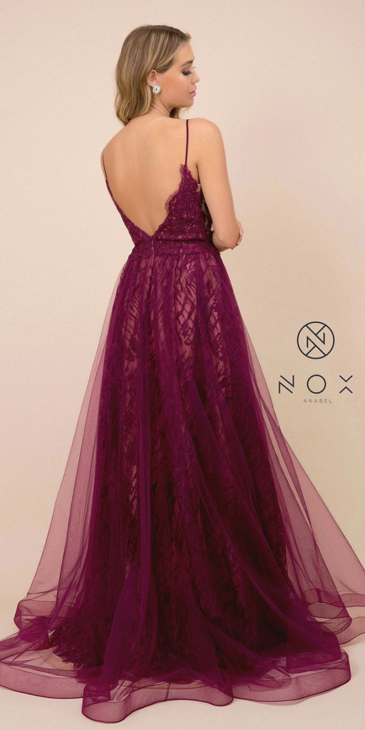 Long Wine/Nude Prom Dress with Appliqued Bodice
