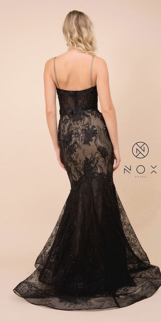 Black/Nude V-Neck Mermaid Long Prom Dress