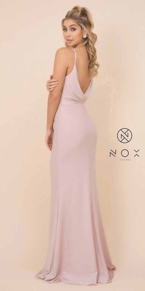 Rose Glitter Fit and Flare Long Prom Dress Cowl-Back