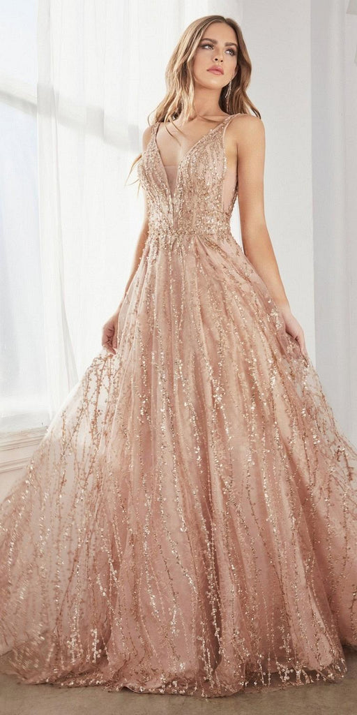 Cinderella Divine C32 Long A-Line Ball Gown Rose Gold Layered Tulle Glitter Lace Print