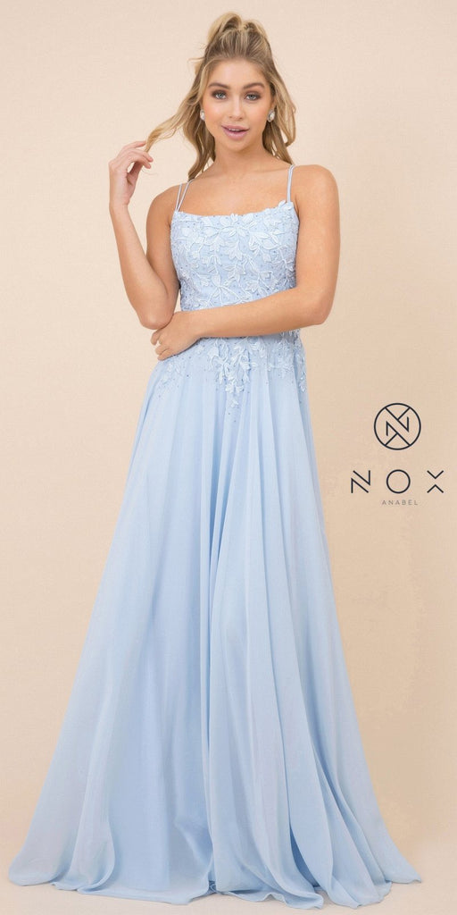 Blue Appliqued Long Prom Dress with Strappy-Back