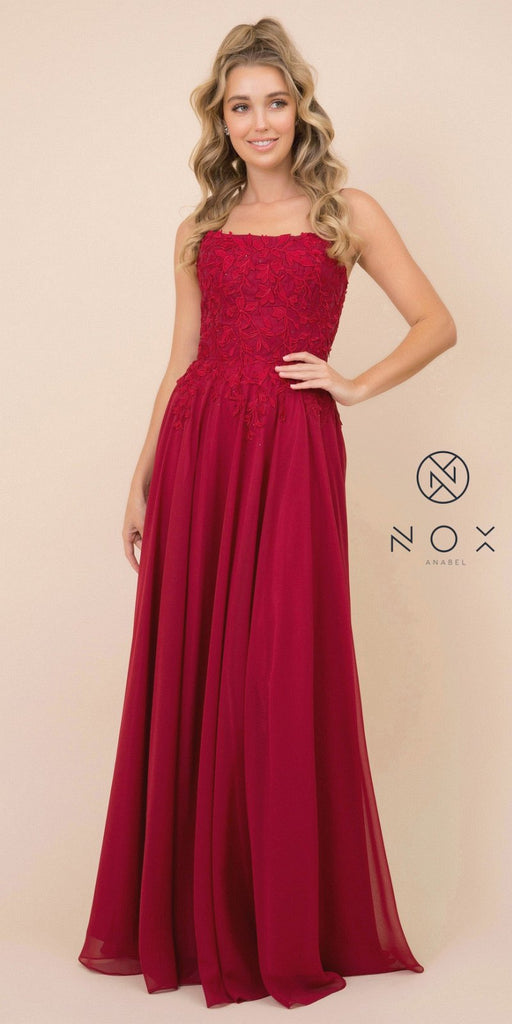 Burgundy Appliqued Long Prom Dress with Strappy-Back
