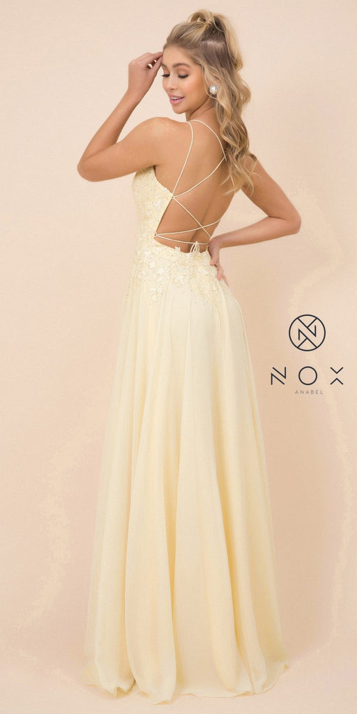 Lemon Appliqued Long Prom Dress with Strappy-Back