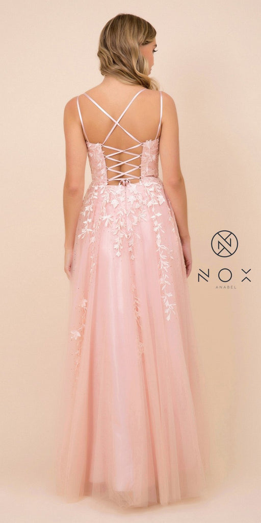 Lace-Up Back Appliqued Long Prom Dress Dusty Rose
