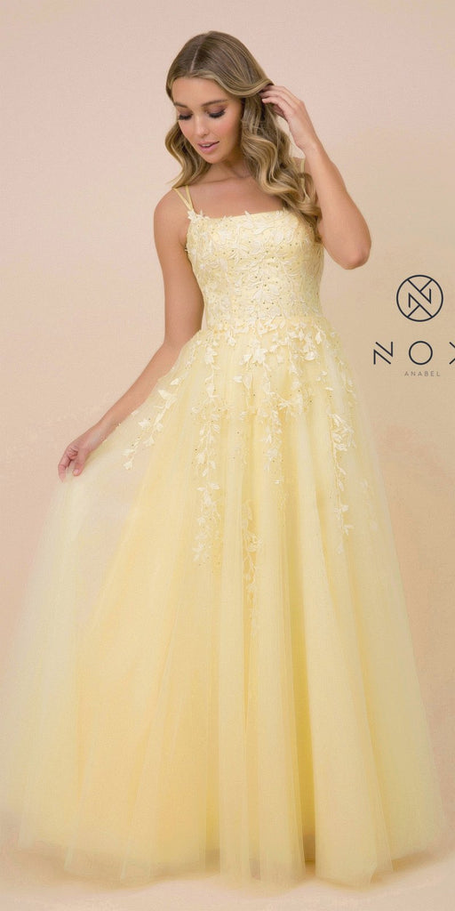 Lace-Up Back Appliqued Long Prom Dress Lemon