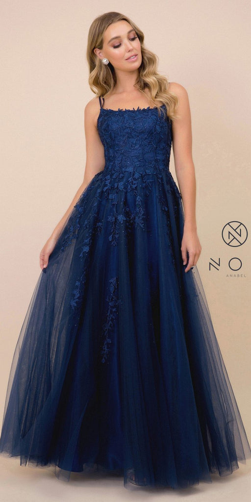 Lace-Up Back Appliqued Long Prom Dress Navy Blue