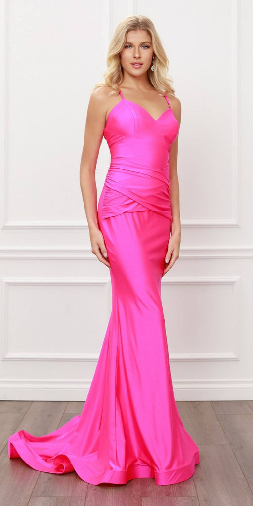 Nox Anabel C420 V-Neck Mermaid Fuchsia Long Formal Dress Lace-Up Back