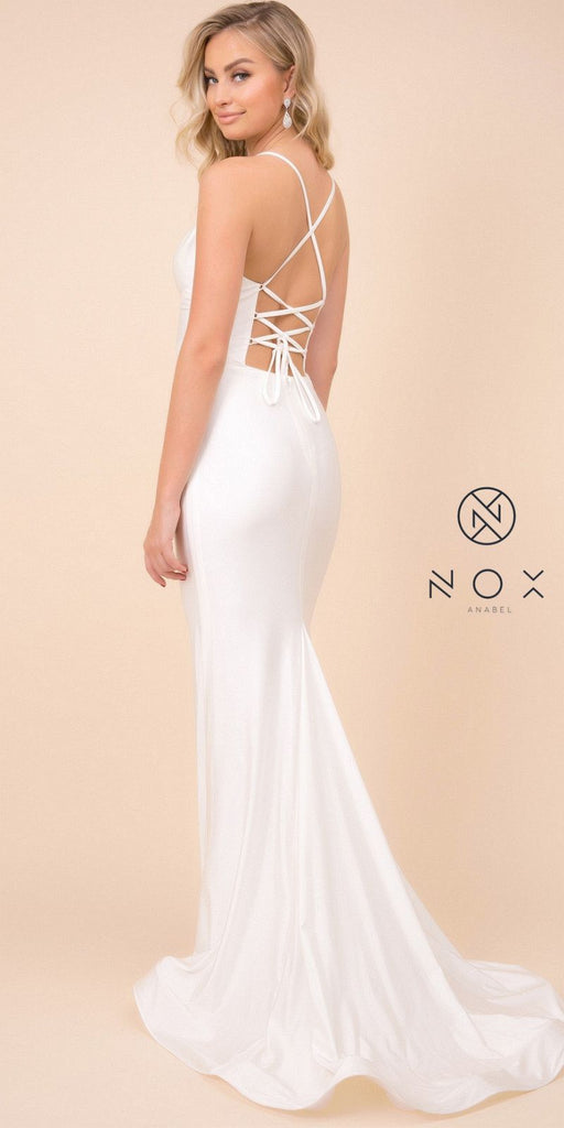 White V-Neck Mermaid Long Prom Dress Lace-Up Back