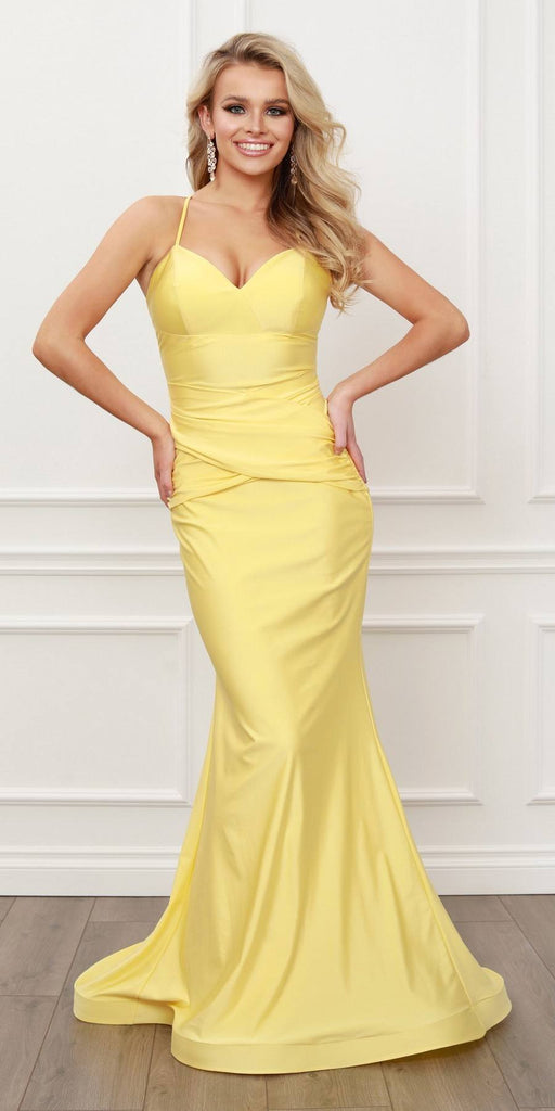 Nox Anabel C420 V-Neck Mermaid Yellow Long Formal Dress Lace-Up Back