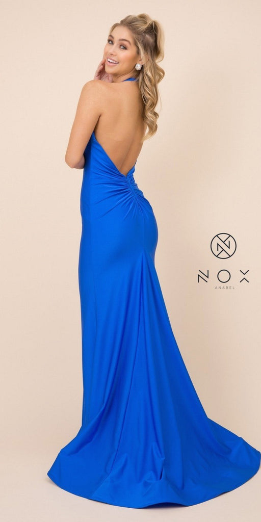 Nox Anabel C421 Sexy Form Fit Formal Dress Royal Blue Halter Open Back