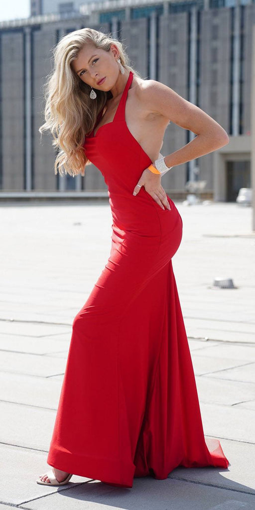 Nox Anabel C421 Sexy Form Fit Formal Dress Red Halter Open Back