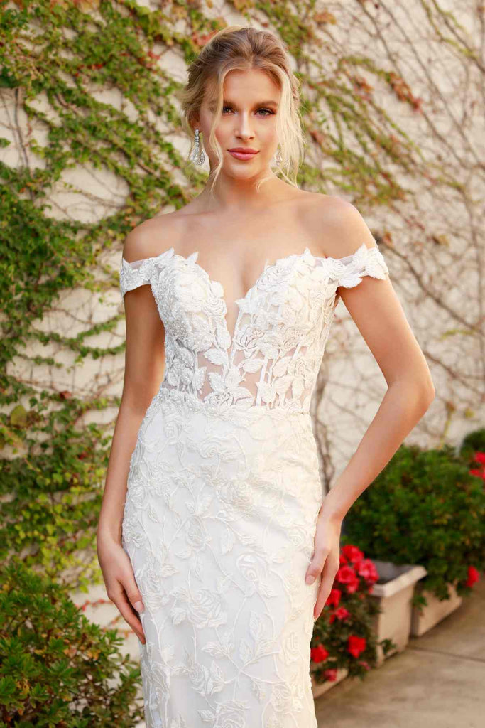 Nox Anabel C439 Off The Shoulder Boho Inspired White Lace Mermaid Gown