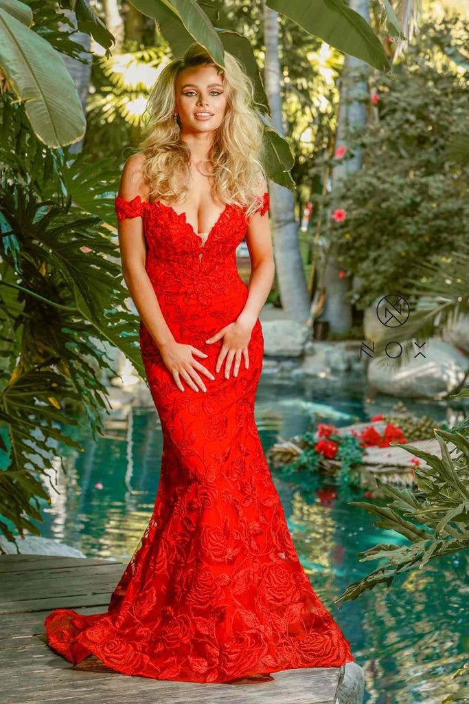 Nox Anabel C439 Off The Shoulder Boho Inspired Red Lace Mermaid Gown