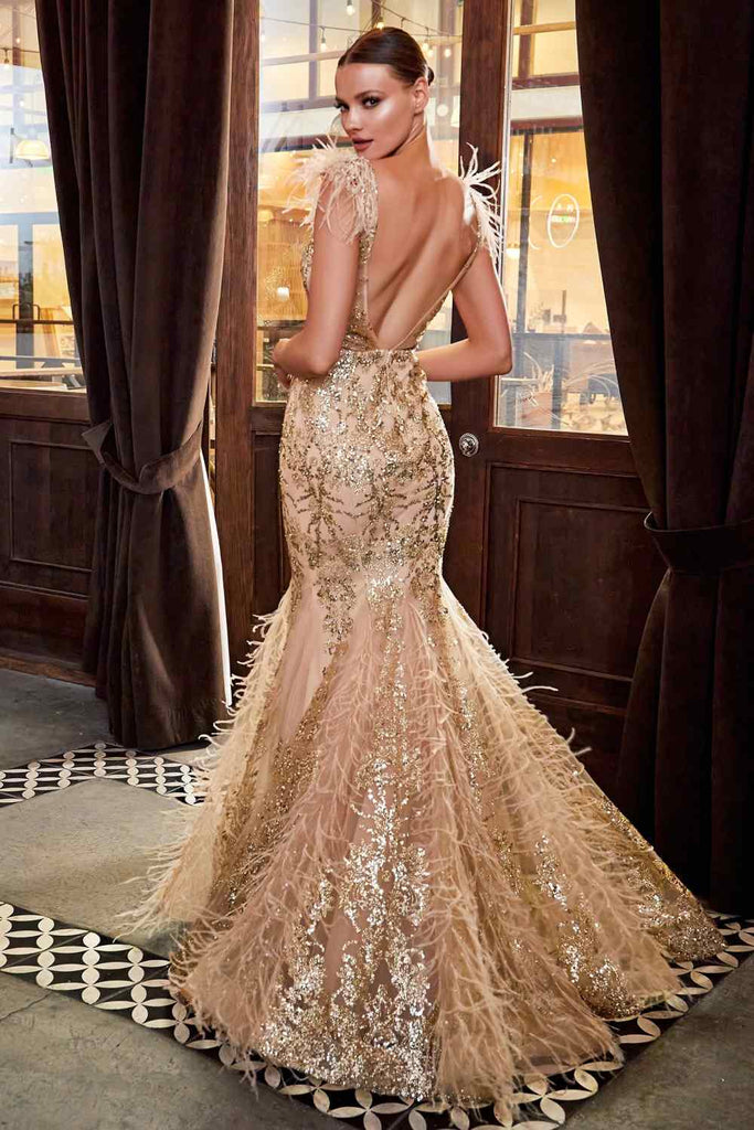 Cinderella Divine C57 Floor Length Gold Mermaid Gown Feathered V-Neckline Glitter Floral