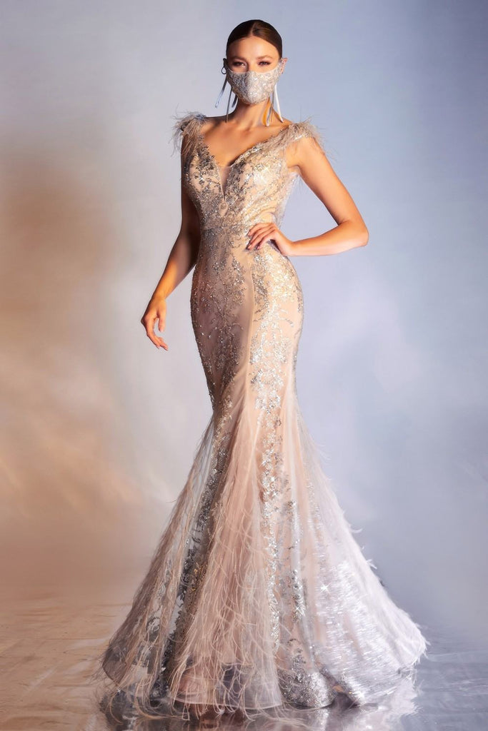 Cinderella Divine C57 Floor Length Silver/Nude Mermaid Gown Feathered V-Neckline Glitter Floral