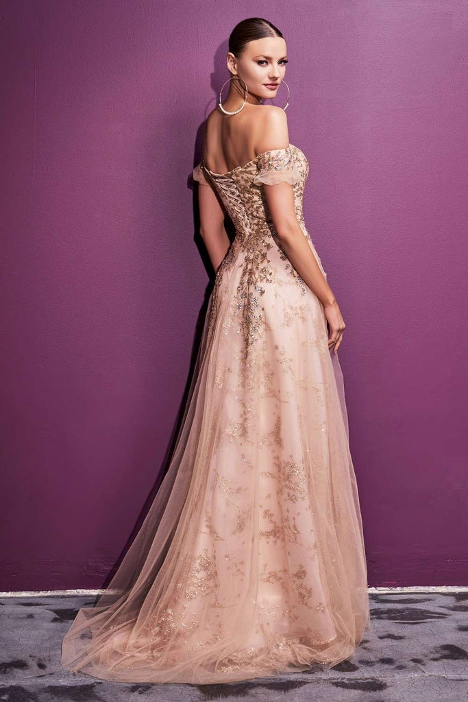 Cinderella Divine C73 Long Off the Shoulder Gold A-Line Ball Gown Corset Back