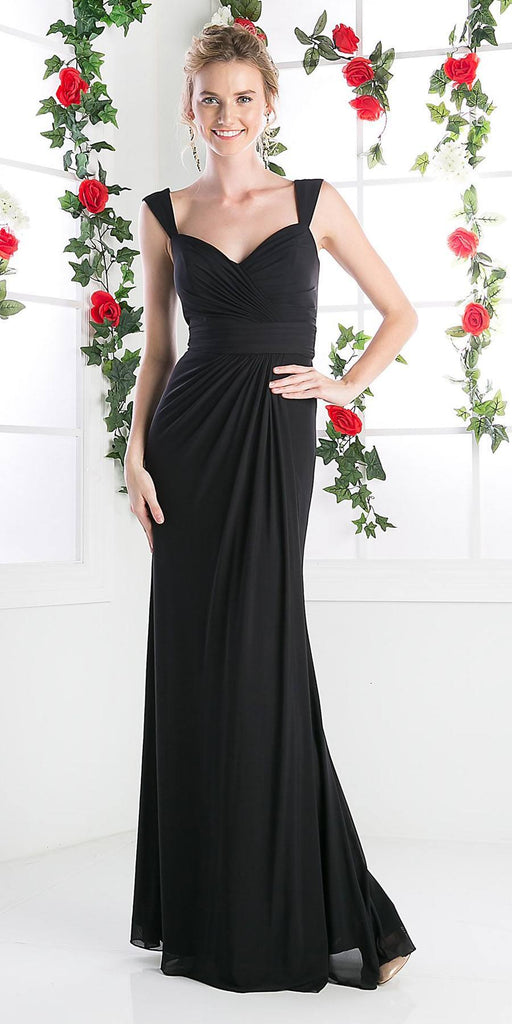 Cinderella Divine C7457 Wide Shoulder Strap Sweetheart Evening Dress Black