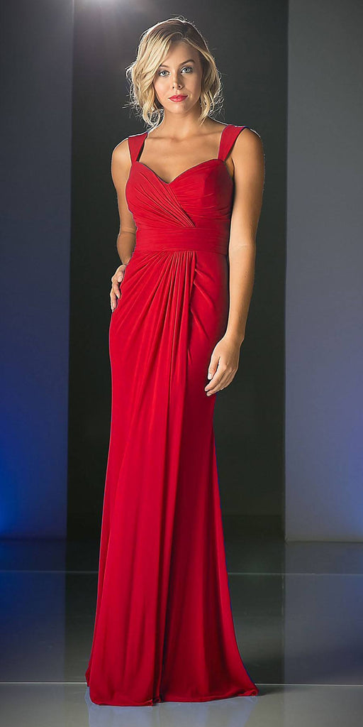 Cinderella Divine C7457 Wide Shoulder Strap Sweetheart Evening Dress Red