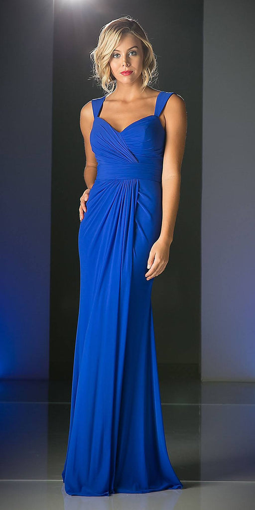 Cinderella Divine C7457 Wide Shoulder Strap Sweetheart Evening Dress Royal Blue