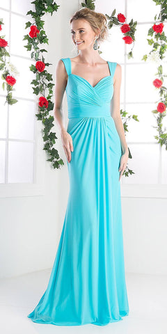 Cinderella Divine C7457 Wide Shoulder Strap Sweetheart Evening Dress Sky Blue